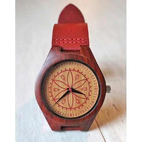 Folkowy drewniany zegarek ROZETA