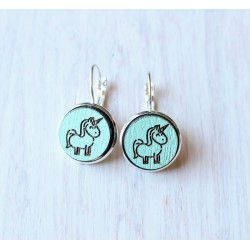 Wooden earrings Unicorn
