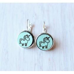 Wooden earrings Unicorn