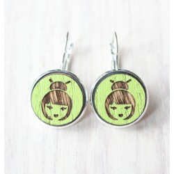 Wooden earrings Geisha