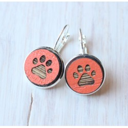 Wooden earrings Paw