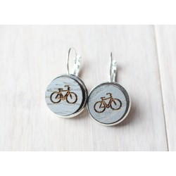 Wooden earrings Bike